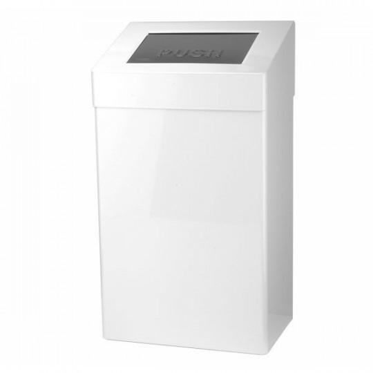 Santral afvalbak 50ltr wit RVS met deksel